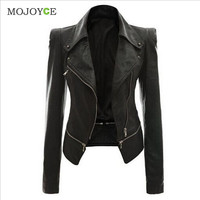 Slim Biker Motorcycle Women Leather Jacket Coats PU Soft Faux Leather Jacket Women Zipper Black Biker Jacket Jaqueta Feminina