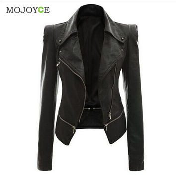 Slim Biker Motorcycle Women Leather Jacket Coats PU Soft Faux Leather Jacket Women Zipper Black Biker Jacket Jaqueta Feminina SN9
