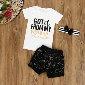 3PCS Newborn Baby Girls Letter T shirt+Shorts Pants Headband Outfits Clothes Set