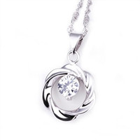"Cate and Chloe Connie ""Constant"" Open Circle Pendant Necklace Crystal"