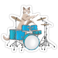 Cat Playing Drums - Pink
