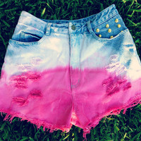 Pink Ombre High Waisted Denim Shorts Studded
