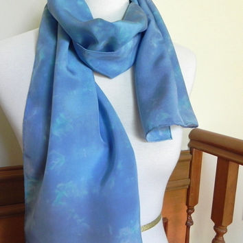 Crepe Silk Scarf Hand Dyed Shades of Blue, Turquoise and Blush of Pink, Ready to Ship