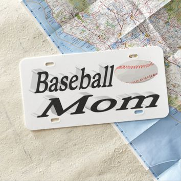 Baseball Mom 3D License Plate