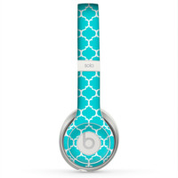 The Teal And White Seamless Morocan Pattern Skin for the Beats by Dre Solo 2 Headphones