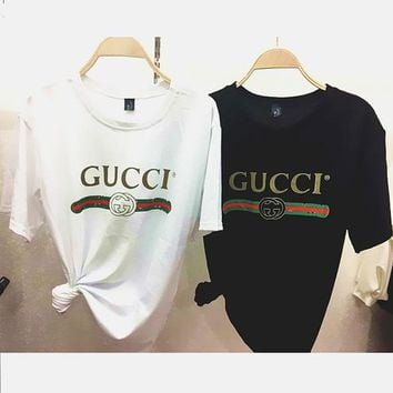Gucci Hot letters print T-shirt top For Black Firday