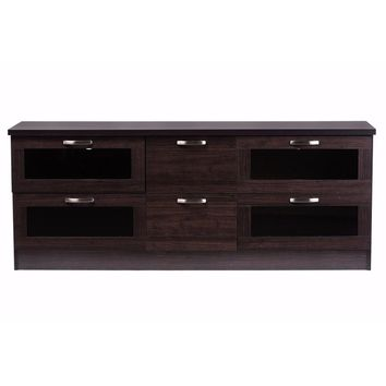 Adelino 63 Inches Dark Brown Wood TV Cabinet with 4 Glass Doors and 2 Drawers By Baxton Studio