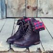 Sweater Weather Plaid Boots in Brown
