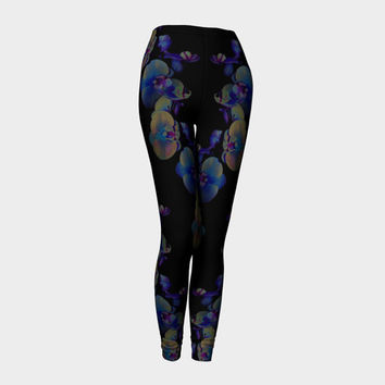 Midnight Orchid, Compression fit performance Leggings, XS,S,M,L,XL, Hand Made Activewear, Purple, Azure, Baby Blue Cerulean, Yoga pants