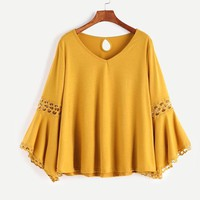 Yellow Tops V Neck T shirt Women Vintage Keyhole Back Tops Fall Fashion Contrast Long Sleeve T shirt