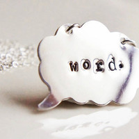 Personalized Speech Bubble Necklace  Hand by RiverValleyJewelry