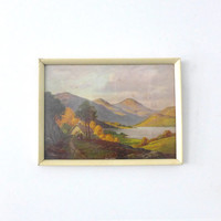 ON SALE framed mid century print of Scotland Loch Lomond landscape
