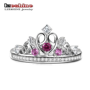 LZESHINE Fashion Silver Color Crown Rings For Women Sparkling Princess Crown Heart Shape Wedding Bands Engagement Ring Jewelry