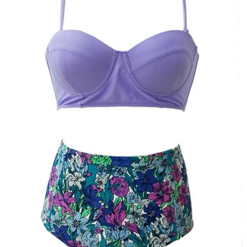 Purple Floral Print High Waist Bikini Set