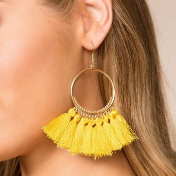 In The Loop Yellow Tassel Earrings