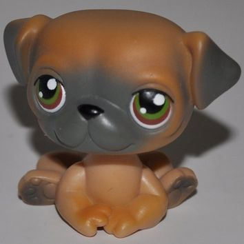 Pug #2 (Tan, Dark Grey) - Littlest Pet Shop (Retired) Collector Toy - LPS Collectible Replacement Figure - Loose (OOP Out of Package & Print)