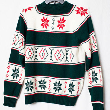 Vintage Wool Christmas Sweater, Retro Holiday Wool Sweater, Vintage JcPenny Turtle Neck Sweater, Ugly Christmas Sweater