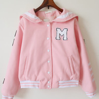 Pink Lapel Letter Patch Striped Buttons  Jacket