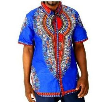 BLUE AFRICAN DASHIKI MEN SHIRT