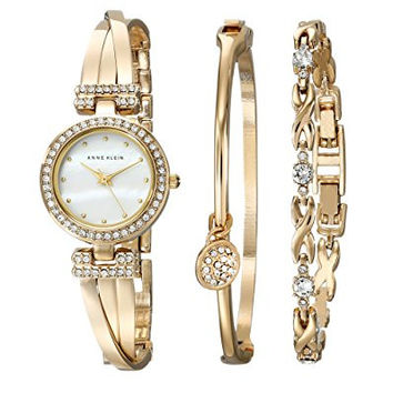 Women's Swarovski Crystal-Accented Gold-Tone Bangle Watch and Bracelet Set