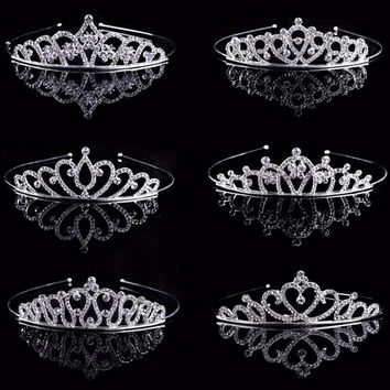 Wedding Tiara Bridal Princess Jewelry Rhinestone Crystal Crown Veil Hair Comb Tiara