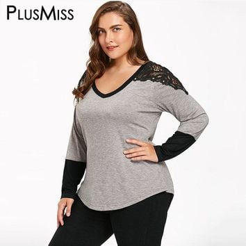 Plus Size 5XL Sexy Lace Crochet Shoulder Blouse Shirt Women Long Sleeve Autumn Fall 2017 Oversized Loose Tops Femme Spring