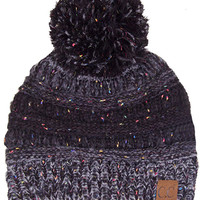 C.C. Beanie Confetti Cable Knit Beanie with Pompom in Black YJ817-POM-BLK