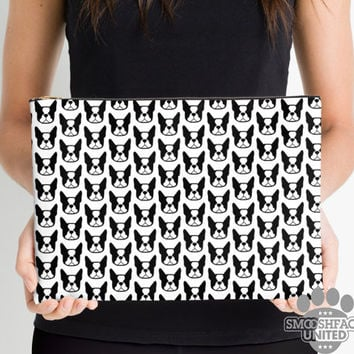 Boston Terrier zipper pouch, sleeve, pocket, clutch, bag, organizer - Black & White Boston Terrier fabric print - #bostonlove