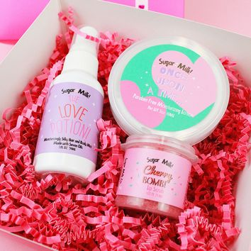 The Valentines Box: Includes Cherry Bomb Lip Scrub, The Love Potion and Once Upon A Time Lotion