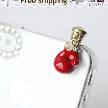 iPhone Dust Plug. Red Boxing Glove Phone Charm with Swarovski Crystal. iPhone Accessories. iPhone Earphone Plug. Free Shipping.