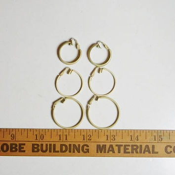 "Large Clip On Hoop Earrings, Beige Painted Metal, Medium, Small Hoop, 1"", 1 1/4"", 1 3/8"", Never Worn, Vintage 70s 80s, Hippie Jewelry"