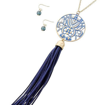 Gold & Navy Blue Suede Leather Tassel Pendant Long Necklace and Earring Set