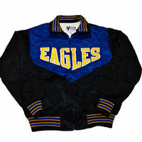 Vintage 1990s 90s Eagles School Jacket Made in USA Mens Clothing Size Large