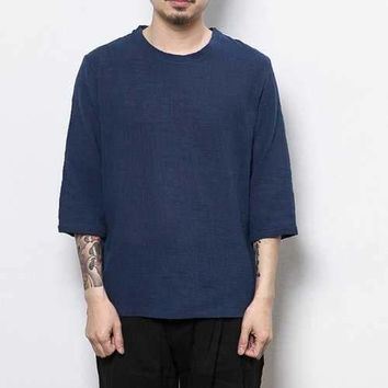 Vintage Thin Linen Elbow Sleeve T Shirt