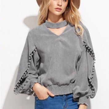 Grey Tassel Detailed Sleeves V-Neck Shirt