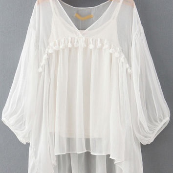 White V-Neck Tassel Cuff Sleeve Pleated Blouse