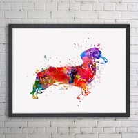 Dachshund Dog Watercolor Art Painting Kids Wall Art Inspiration Sausage Dog Prints Poster Nursery Pet Decor No Frame
