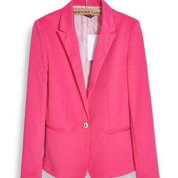 Fashion Jacket Blazer Women Suit Foldable Long Sleeves Lapel Coat Lined With Striped Single Button Vogue Blazers Jackets MZ1309