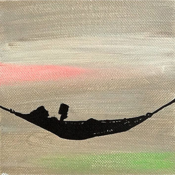 """original Acrylic Painting on Canvas, 5""""x5"""" Mini Abstract Silhouette Painting, Modern Painting"""