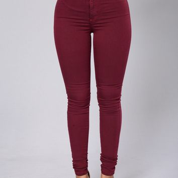 Super High Waist Denim Skinnies - Burgundy