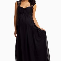 Black-Lace-Accent-Chiffon-Evening-Gown