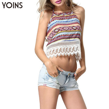 New Women Sexy Lace Splice Back Tie Strapless Camis Print Backless Halter Crop Top Ladies Party Night Club Beach Wear