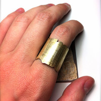 Gold Papyrus Ring- 24k Gold Plated Wide Ring-Wide Gold Ring -Adjustable
