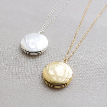 Round Locket Necklace - Gold and Silver - 1359