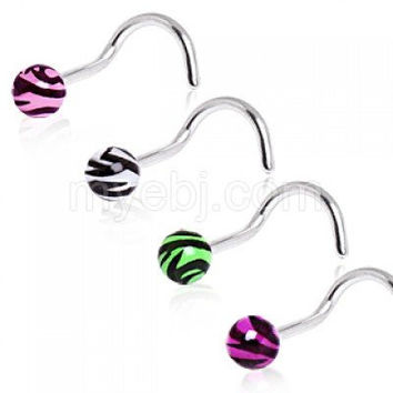 4 Pack of 316L Surgical Steel Screw Nose Ring with UV Zebra Print Ball 20G 3mm