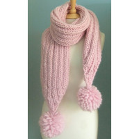 Pale PINK Chunky Long SCARF Pure WOOL Ladies Pom Pom Bobble