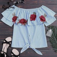 Azulina Blue Striped Blouse Off The Shoulder Floral Embroidered Blouse Shirt Women Tops Summer