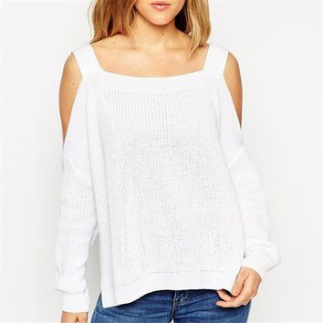 2017 Casual Women T shirts O-neck t shirt Female Full Sleeve Plus Size Knitting Off shoulder Irregular Tops 72141