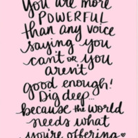 You are Powerful Wall Art with quote by Dayna Lee in Pink