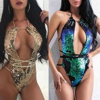 Sexy Sequins Bathing Suit One-piece Lace Up Sequin Overlap Swimsuit Beach Wear Swimwear For Women Halter Bikinis Set LJJO3918